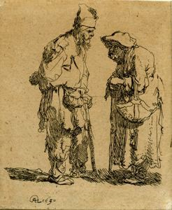 Image of Beggar Man and Woman Conversing