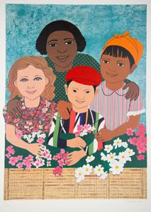 Image of Children With Flowers