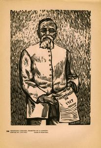 Image of Plate 56: Venustiano Carranza holding a copy of the 1917 constitution