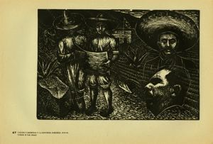 Image of Plate 67: Lázaro Cárdenas with a farmer looking at plan for agraian reform
