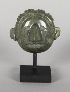 Image of Miniature Green Jade Head of Male, Chontal-area style