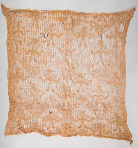 Image of A Chancay Open Weave Camelid Wool Gauze Head Cloth, chevrons and anthropomorphic figures