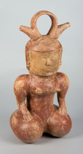 Image of molded pottery vessel, kneeling figure with double spouts