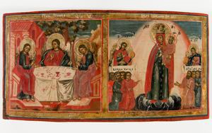 Image of Russian Double Icon, Old Testament Trinity and Mother of God Joy to All Who Sorrow