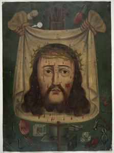Image of Retablo Painting of Christ with Passion Symbols