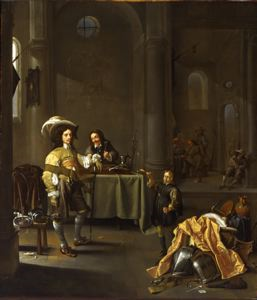 Image of Serving Wine to an Officer in a Guardroom