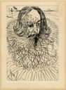 "Image of Etching of author Miguel de Cervantes: Part of Dali's series, ""The Five Spanish Immortals"