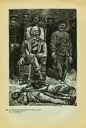 Image of Plate 34: 'The criminal' Victoriano Huerta installed as President sitting on chair with murdered men at his feet