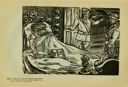Image of Plate 69: Plutarco Elías Calles in bed, about to be deported to America on the orders of General Lazaro Cardenas who stands at right (1936)