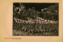 Image of Plate 76: the people marching with banners for the right to education, land and irrigation