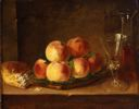 Image of Still Life with Peaches, Bread, Wine Glass and Pitcher