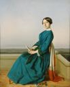 Image of Portrait of a Lady Seated on a Balcony in a Blue Dress